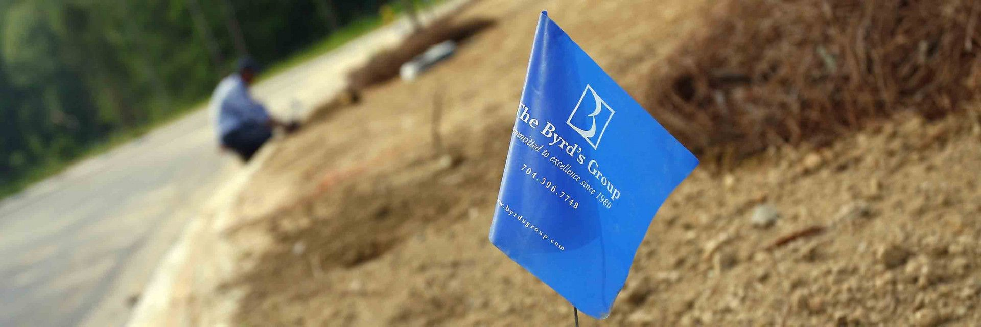 blue byrds group work flag in dirt
